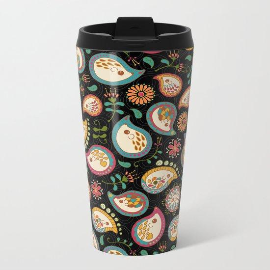 Hedgehog Paisley_Party Colors Metal Travel Mug