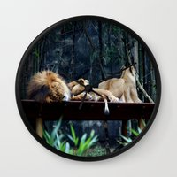 lions Wall Clocks featuring Lions by Georgia
