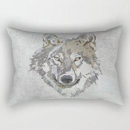 Wolf Head Illustration Rectangular Pillow
