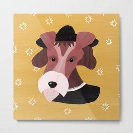 Museum Fox Terrier - dog painting in costume, fine arts dog, animal renaissance Metal Print