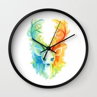feather Wall Clocks featuring Feather Fawn by Freeminds