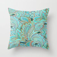 paisley Throw Pillows featuring paisley, paisley by Ariadne