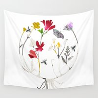 drum Wall Tapestries featuring Calico Drum by Ellie Knight Design & Illustration