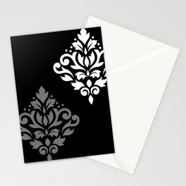 Scroll Damask Art I Black Grey White Stationery Cards