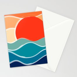 Retro 70s and 80s Color Palette Mid-Century Minimalist Nature Waves and Sun Abstract Art Stationery Cards