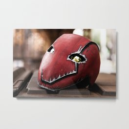 Red Hood Helmet Metal Print