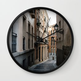 Empty street in historical city centre of Madrid  Wall Clock