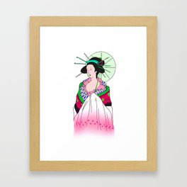 Umbrella Lady Framed Art Print