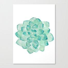 Watercolor Succulent print in seafoam green Canvas Print