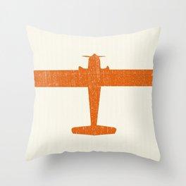 Vintage Orange Airplane Art Print Throw Pillow