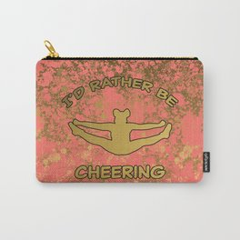 Coral and Gold-I'd Rather Be Cheering Design Carry-All Pouch
