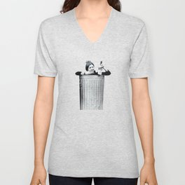 Carrie Fisher in a Trashcan Unisex V-Neck