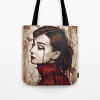 hepburn Tote Bags featuring Audrey Hepburn by Olechka