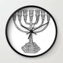 vector doodle menorah, chanukah holiday Wall Clock