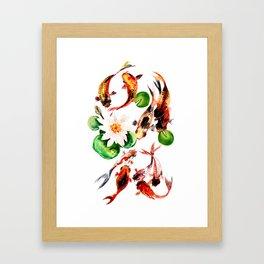 Koi Fish in Pond, Feng Shui Framed Art Print