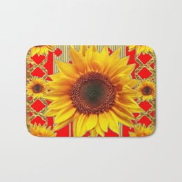 Ornate red Design Sunflower Art Bath Mat