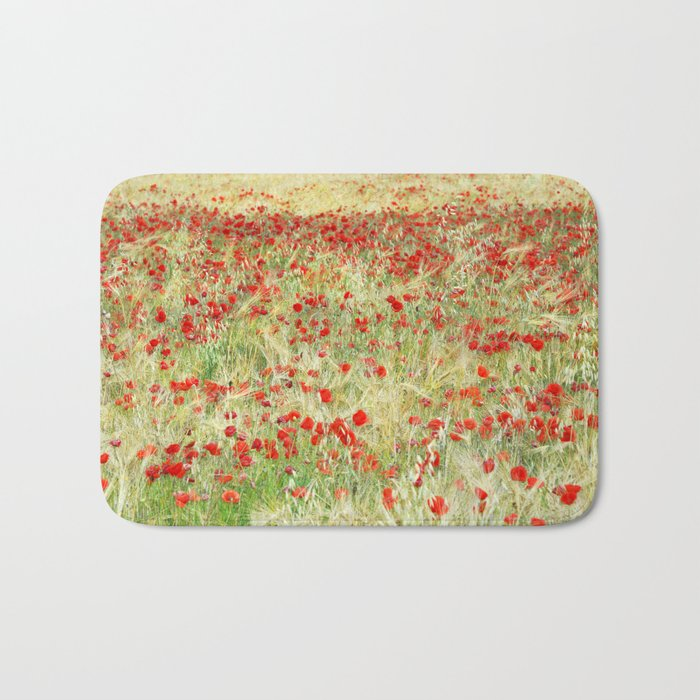 Windy poppies. Spring fields Bath Mat