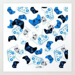 Video Game White and Blue Art Print