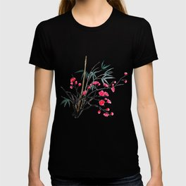 bamboo and red plum flowers T-shirt