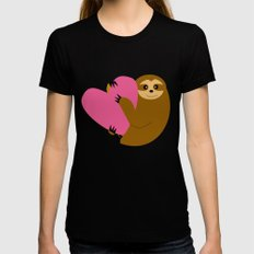 Sloth in love blue SMALL Black Womens Fitted Tee