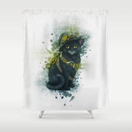 Steampunk Kitty Shower Curtain