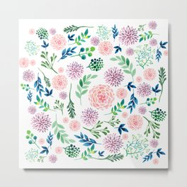 Watercolour Flowers and Nature Metal Print