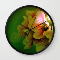 flora Wall Clocks featuring Flora by Jake Stanton