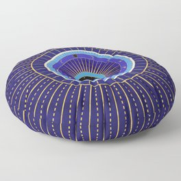 Cobalt Blue Evil Eye Mandala  with Moon Phases Floor Pillow