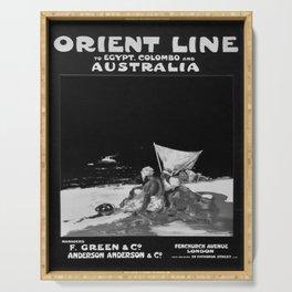 retro monochrome Orient Line Egypt Colombo Australia vintage poster Serving Tray