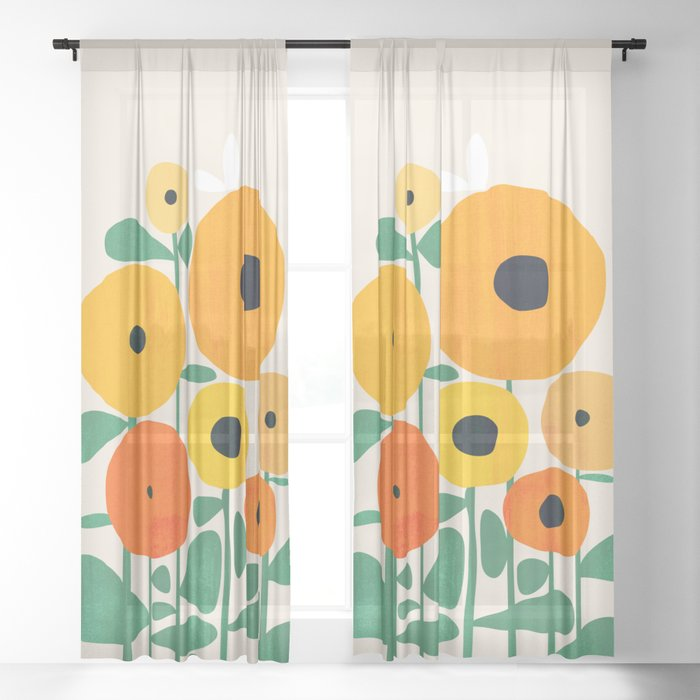 Sunflower and Bee Sheer Curtain