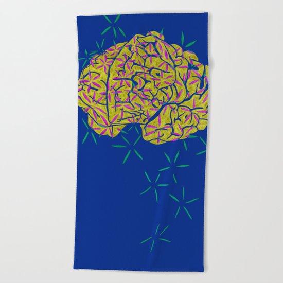 Floral Brain Beach Towel