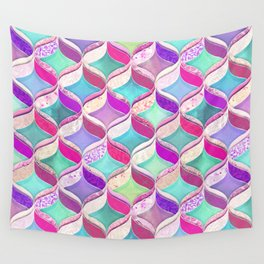 Patchwork Ribbon Ogee Pattern with Pink & Purple Wall Tapestry