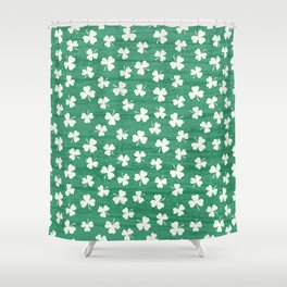 DANCING SHAMROCKS on green Shower Curtain