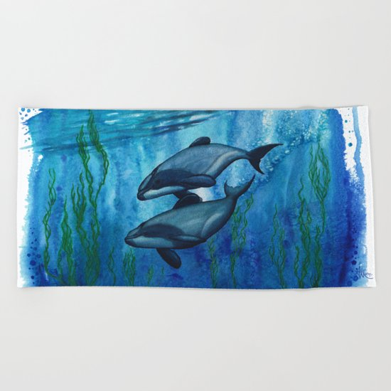"""Maui's Magic"" by Amber Marine ~ (Maui's Dolphins) Watercolor Painting, (c) 2016 Beach Towel"