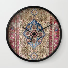 Antique Silk Kashan Persian Rug Print Wall Clock