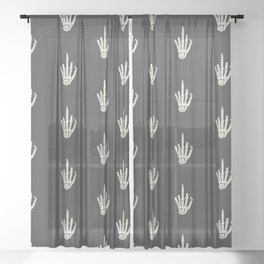Fuck you middle finger skull ugly Christmas Sheer Curtain
