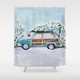 Blue vintage Christmas woody car with pine tree Shower Curtain