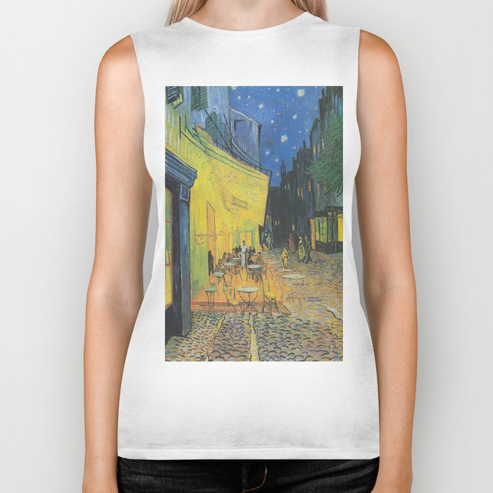 Vincent can Gogh's Cafe Terrace at Night Biker Tank
