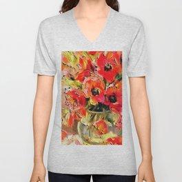 Poppies In A Glass Vase Black Outline Art Unisex V-Neck