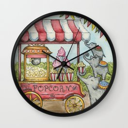 Popcorn & Pachyderms Wall Clock