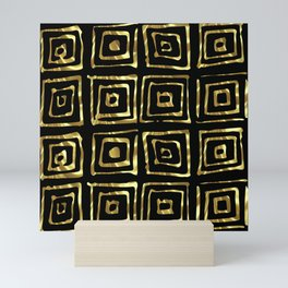 Shiny Faux-Gold Geometric Pattern Mini Art Print