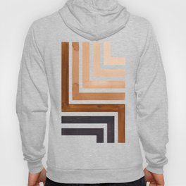 Raw Umber Mid Century Modern Watercolor Colorful Ancient Aztec Art Pattern Minimalist Geometric Patt Hoody