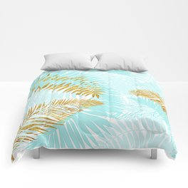 Aloha - Tropical Palm Leaves and Gold Metal Foil Leaf Garden Comforters