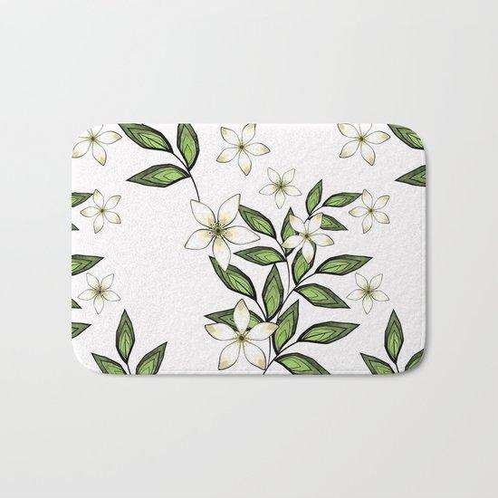 White flowers. Bath Mat