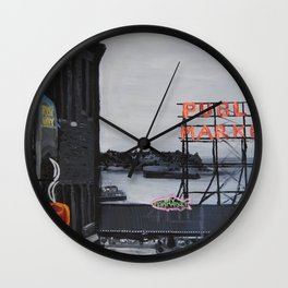 Pike Place Market - Black & White & Neon -Seattle Washginton Wall Clock