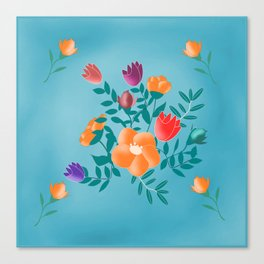 Classic floral with blue background Canvas Print