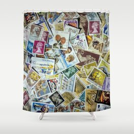 Postage Stamp Collection Shower Curtain