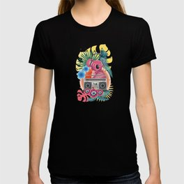 Pink koala with boombox and tropical leaves design T-shirt