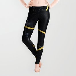 Black marble with gold lines Leggings