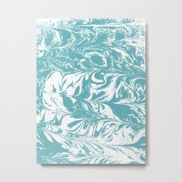 Japanese paper marbling suminiagashi pastel turquoise light blue ocean topography swirl marble Metal Print